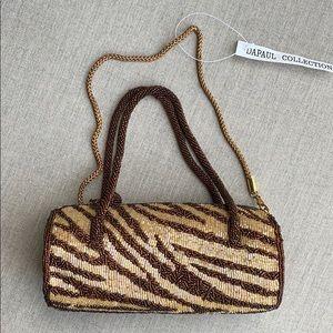 Beaded Brown Animal Tiger Print bag